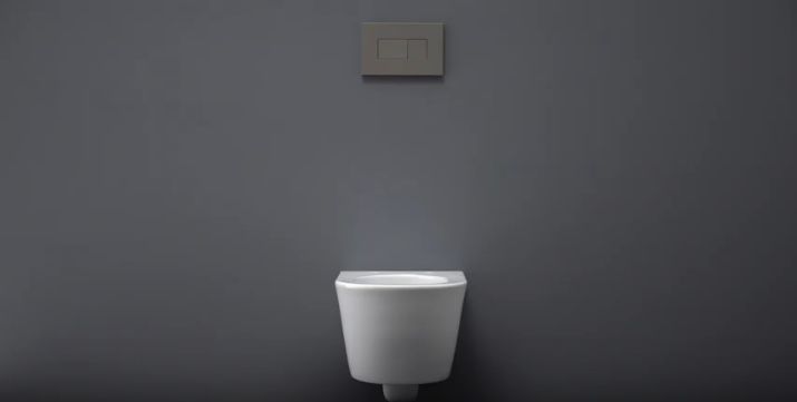 the final setup of a wall hung toilet