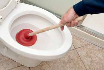 Unblock toilet with Plunger